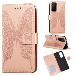 Intricate Embossing Vivid Butterfly Leather Wallet Case for Huawei Honor X10 5G - Rose Gold