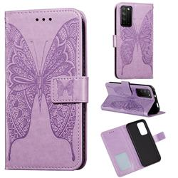 Intricate Embossing Vivid Butterfly Leather Wallet Case for Huawei Honor X10 5G - Purple