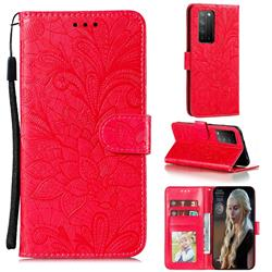 Intricate Embossing Lace Jasmine Flower Leather Wallet Case for Huawei Honor X10 5G - Red