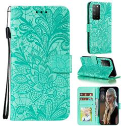 Intricate Embossing Lace Jasmine Flower Leather Wallet Case for Huawei Honor X10 5G - Green