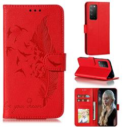 Intricate Embossing Lychee Feather Bird Leather Wallet Case for Huawei Honor X10 5G - Red