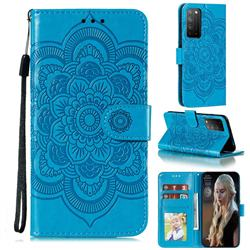 Intricate Embossing Datura Solar Leather Wallet Case for Huawei Honor X10 5G - Blue