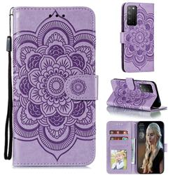 Intricate Embossing Datura Solar Leather Wallet Case for Huawei Honor X10 5G - Purple
