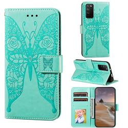 Intricate Embossing Rose Flower Butterfly Leather Wallet Case for Huawei Honor X10 5G - Green