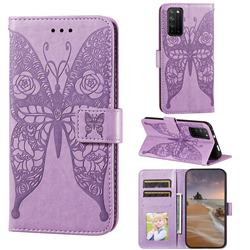 Intricate Embossing Rose Flower Butterfly Leather Wallet Case for Huawei Honor X10 5G - Purple