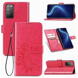 Embossing Imprint Four-Leaf Clover Leather Wallet Case for Huawei Honor X10 5G - Rose Red