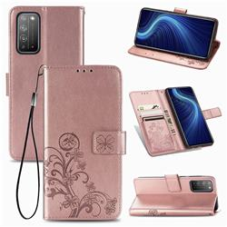 Embossing Imprint Four-Leaf Clover Leather Wallet Case for Huawei Honor X10 5G - Rose Gold
