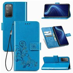 Embossing Imprint Four-Leaf Clover Leather Wallet Case for Huawei Honor X10 5G - Blue