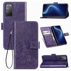 Embossing Imprint Four-Leaf Clover Leather Wallet Case for Huawei Honor X10 5G - Purple