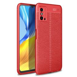 Luxury Auto Focus Litchi Texture Silicone TPU Back Cover for Huawei Honor X10 Max 5G - Red
