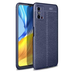 Luxury Auto Focus Litchi Texture Silicone TPU Back Cover for Huawei Honor X10 Max 5G - Dark Blue