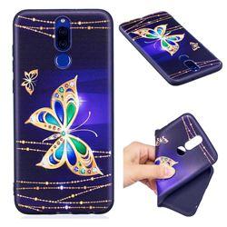 Golden Shining Butterfly 3D Embossed Relief Black Soft Back Cover for Huawei Mate 10 Lite / Nova 2i / Horor 9i / G10
