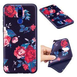 Safflower 3D Embossed Relief Black Soft Back Cover for Huawei Mate 10 Lite / Nova 2i / Horor 9i / G10