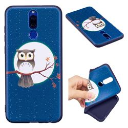 Moon and Owl 3D Embossed Relief Black Soft Back Cover for Huawei Mate 10 Lite / Nova 2i / Horor 9i / G10