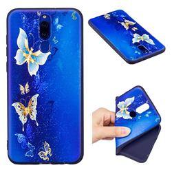 Golden Butterflies 3D Embossed Relief Black Soft Back Cover for Huawei Mate 10 Lite / Nova 2i / Horor 9i / G10