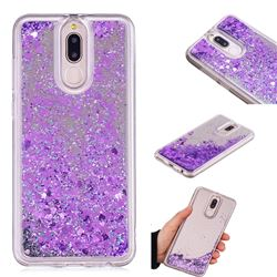 Glitter Sand Mirror Quicksand Dynamic Liquid Star TPU Case for Huawei Mate 10 Lite / Nova 2i / Horor 9i / G10 - Purple