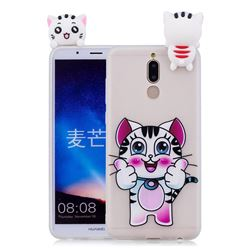 Cute Pink Kitten Soft 3D Climbing Doll Soft Case for Huawei Mate 10 Lite / Nova 2i / Horor 9i / G10