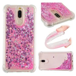 Dynamic Liquid Glitter Sand Quicksand TPU Case for Huawei Mate 10 Lite / Nova 2i / Horor 9i / G10 - Pink Love Heart