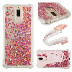 Dynamic Liquid Glitter Sand Quicksand TPU Case for Huawei Mate 10 Lite / Nova 2i / Horor 9i / G10 - Rose Gold Love Heart