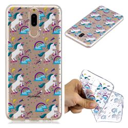 Rainbow Running Unicorn Super Clear Soft TPU Back Cover for Huawei Mate 10 Lite / Nova 2i / Horor 9i / G10