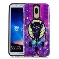 Starry Campanula Owl Pattern 2 in 1 PC + TPU Glossy Embossed Back Cover for Huawei Mate 10 Lite / Nova 2i / Horor 9i / G10