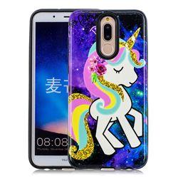 Rainbow Horse Pattern 2 in 1 PC + TPU Glossy Embossed Back Cover for Huawei Mate 10 Lite / Nova 2i / Horor 9i / G10