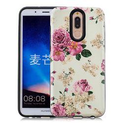 Rose Flower Pattern 2 in 1 PC + TPU Glossy Embossed Back Cover for Huawei Mate 10 Lite / Nova 2i / Horor 9i / G10