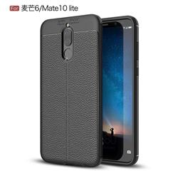 Luxury Auto Focus Litchi Texture Silicone TPU Back Cover for Huawei Mate 10 Lite / Nova 2i / Horor 9i / G10 - Black