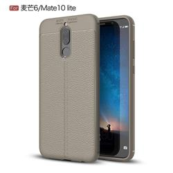 Luxury Auto Focus Litchi Texture Silicone TPU Back Cover for Huawei Mate 10 Lite / Nova 2i / Horor 9i / G10 - Gray