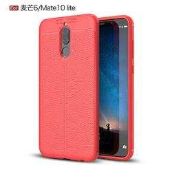 Luxury Auto Focus Litchi Texture Silicone TPU Back Cover for Huawei Mate 10 Lite / Nova 2i / Horor 9i / G10 - Red