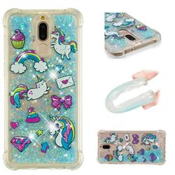 Fashion Unicorn Dynamic Liquid Glitter Sand Quicksand Star TPU Case for Huawei Mate 10 Lite / Nova 2i / Horor 9i / G10