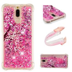 Pink Cherry Blossom Dynamic Liquid Glitter Sand Quicksand Star TPU Case for Huawei Mate 10 Lite / Nova 2i / Horor 9i / G10