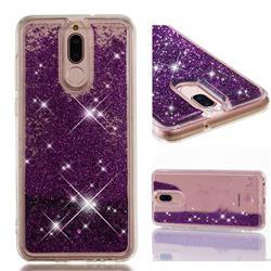 Dynamic Liquid Glitter Quicksand Sequins TPU Phone Case for Huawei Mate 10 Lite / Nova 2i / Horor 9i / G10 - Purple