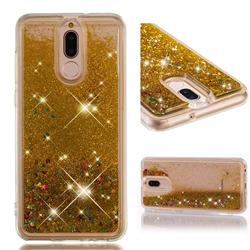 Dynamic Liquid Glitter Quicksand Sequins TPU Phone Case for Huawei Mate 10 Lite / Nova 2i / Horor 9i / G10 - Golden