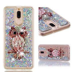 Seashell Owl Dynamic Liquid Glitter Quicksand Soft TPU Case for Huawei Mate 10 Lite / Nova 2i / Horor 9i / G10