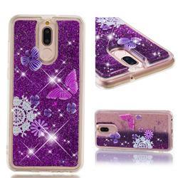 Purple Flower Butterfly Dynamic Liquid Glitter Quicksand Soft TPU Case for Huawei Mate 10 Lite / Nova 2i / Horor 9i / G10