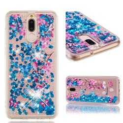 Blue Plum Blossom Dynamic Liquid Glitter Quicksand Soft TPU Case for Huawei Mate 10 Lite / Nova 2i / Horor 9i / G10