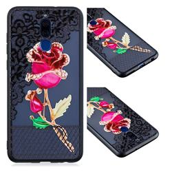 Rose Lace Diamond Flower Soft TPU Back Cover for Huawei Mate 10 Lite / Nova 2i / Horor 9i / G10