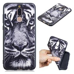 White Tiger 3D Embossed Relief Black TPU Cell Phone Back Cover for Huawei Mate 10 Lite / Nova 2i / Horor 9i / G10