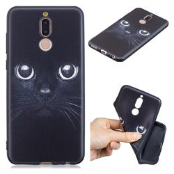 Bearded Feline 3D Embossed Relief Black TPU Cell Phone Back Cover for Huawei Mate 10 Lite / Nova 2i / Horor 9i / G10
