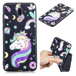 Candy Unicorn 3D Embossed Relief Black TPU Cell Phone Back Cover for Huawei Mate 10 Lite / Nova 2i / Horor 9i / G10