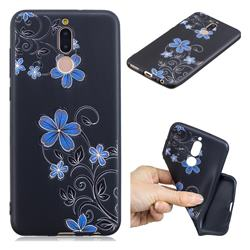 Little Blue Flowers 3D Embossed Relief Black TPU Cell Phone Back Cover for Huawei Mate 10 Lite / Nova 2i / Horor 9i / G10
