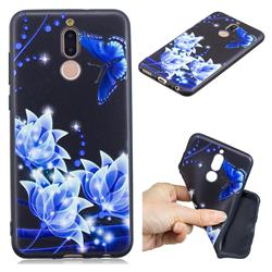Blue Butterfly 3D Embossed Relief Black TPU Cell Phone Back Cover for Huawei Mate 10 Lite / Nova 2i / Horor 9i / G10