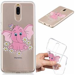 Tiny Pink Elephant Clear Varnish Soft Phone Back Cover for Huawei Mate 10 Lite / Nova 2i / Horor 9i / G10