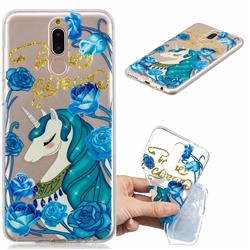 Blue Flower Unicorn Clear Varnish Soft Phone Back Cover for Huawei Mate 10 Lite / Nova 2i / Horor 9i / G10