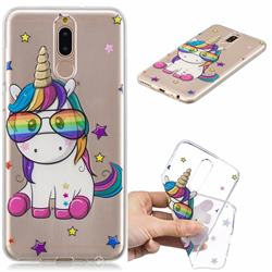 Glasses Unicorn Clear Varnish Soft Phone Back Cover for Huawei Mate 10 Lite / Nova 2i / Horor 9i / G10