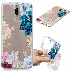 Gem Flower Clear Varnish Soft Phone Back Cover for Huawei Mate 10 Lite / Nova 2i / Horor 9i / G10
