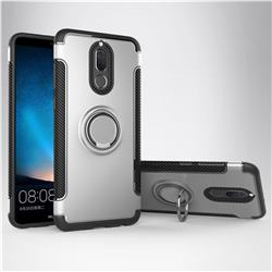 Armor Anti Drop Carbon PC + Silicon Invisible Ring Holder Phone Case for Huawei Mate 10 Lite / Nova 2i / Horor 9i / G10 - Silver