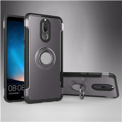 Armor Anti Drop Carbon PC + Silicon Invisible Ring Holder Phone Case for Huawei Mate 10 Lite / Nova 2i / Horor 9i / G10 - Grey