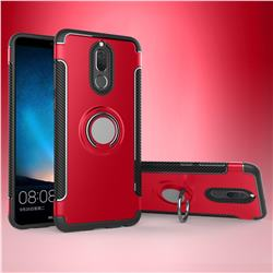 Armor Anti Drop Carbon PC + Silicon Invisible Ring Holder Phone Case for Huawei Mate 10 Lite / Nova 2i / Horor 9i / G10 - Red